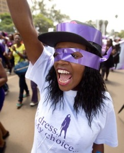 Kenyan women protest for the right to wear whichever clothes they want, at a demonstration in downtown Nairobi. (Ben Curtis, AP)